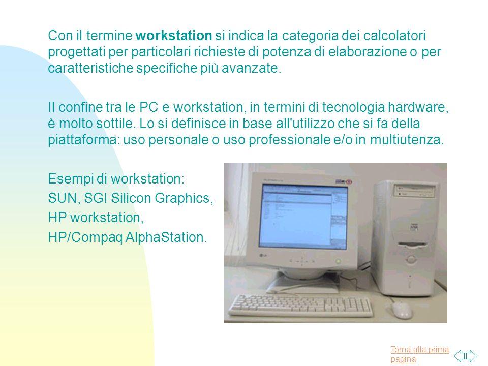 Torna alla prima pagina Con il termine workstation si indica la categoria dei calcolatori progettati per particolari richieste di potenza di elaborazione o per caratteristiche specifiche più avanzate.