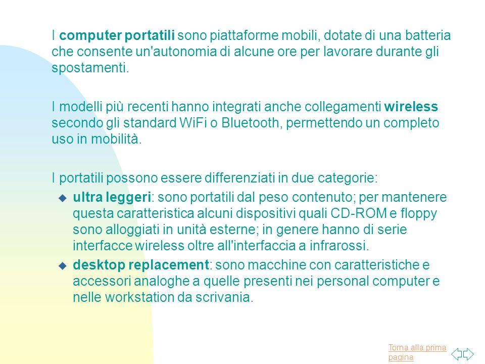 Torna alla prima pagina I computer portatili sono piattaforme mobili, dotate di una batteria che consente un autonomia di alcune ore per lavorare durante gli spostamenti.