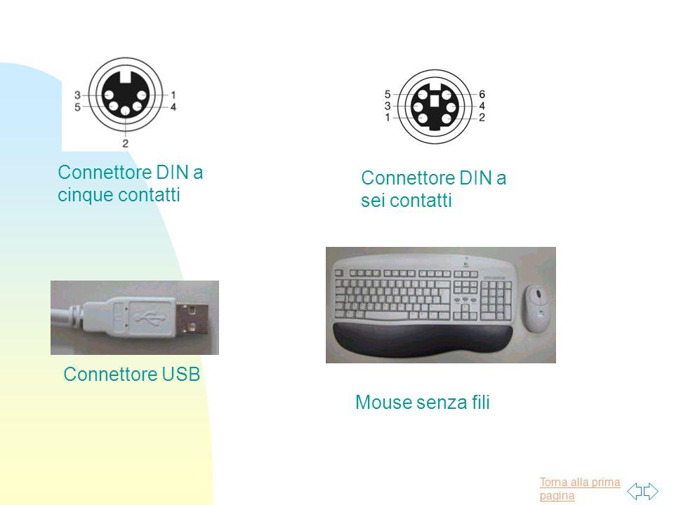 Torna alla prima pagina Connettore DIN a cinque contatti Connettore DIN a sei contatti Connettore USB Mouse senza fili