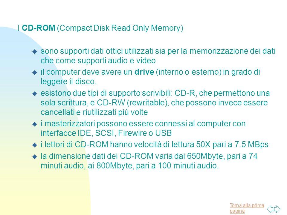 Torna alla prima pagina I CD-ROM (Compact Disk Read Only Memory) u sono supporti dati ottici utilizzati sia per la memorizzazione dei dati che come supporti audio e video u il computer deve avere un drive (interno o esterno) in grado di leggere il disco.