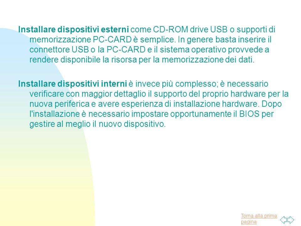 Torna alla prima pagina Installare dispositivi esterni come CD-ROM drive USB o supporti di memorizzazione PC-CARD è semplice.