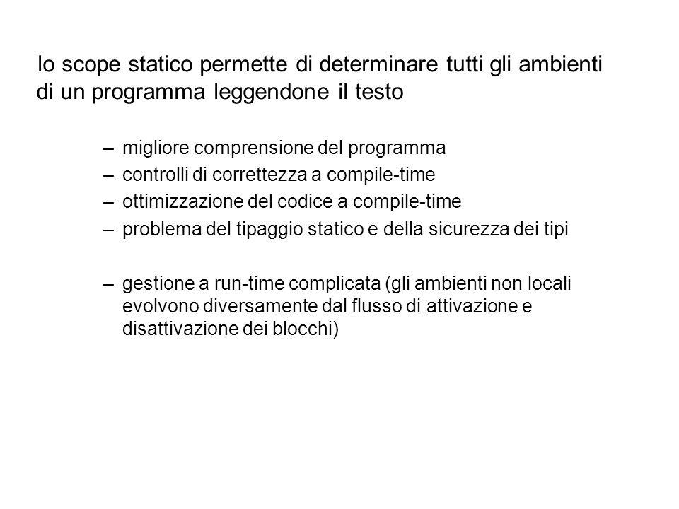 lo scope statico permette di determinare tutti gli ambienti di un programma leggendone il testo –migliore comprensione del programma –controlli di cor