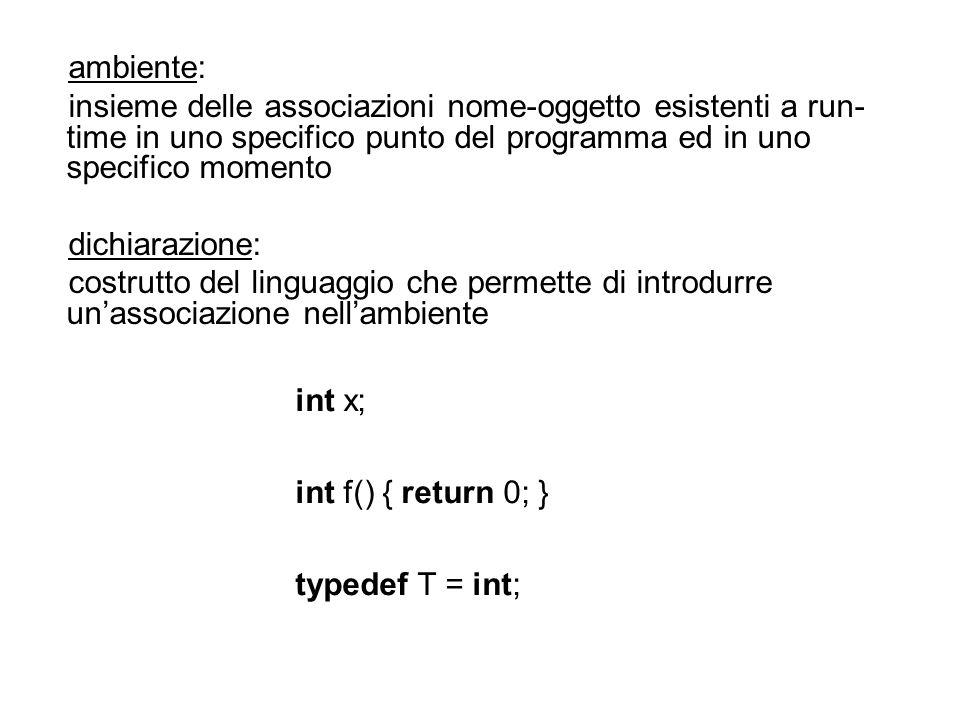 ambiente: insieme delle associazioni nome-oggetto esistenti a run- time in uno specifico punto del programma ed in uno specifico momento dichiarazione: costrutto del linguaggio che permette di introdurre unassociazione nellambiente int x; int f() { return 0; } typedef T = int;