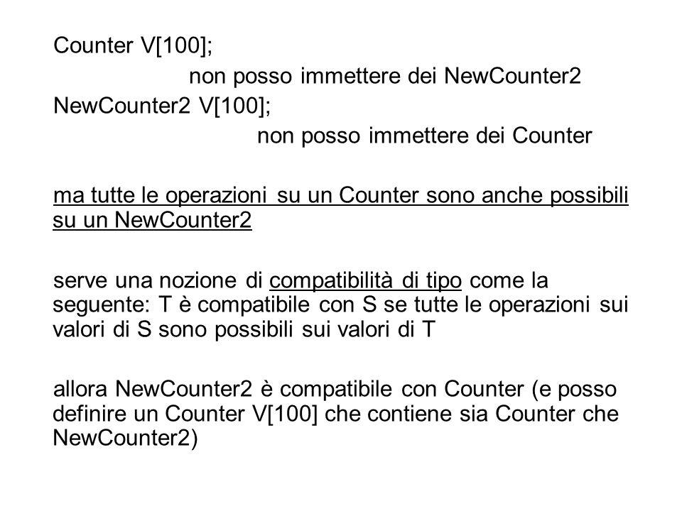 for (int i=1; i<100; i++) reset (V[i]); il risolutore delloverloading interpreta (staticamente) loperazione come un reset di Counter –che fine fanno i campi num_reset dei newcounter2.