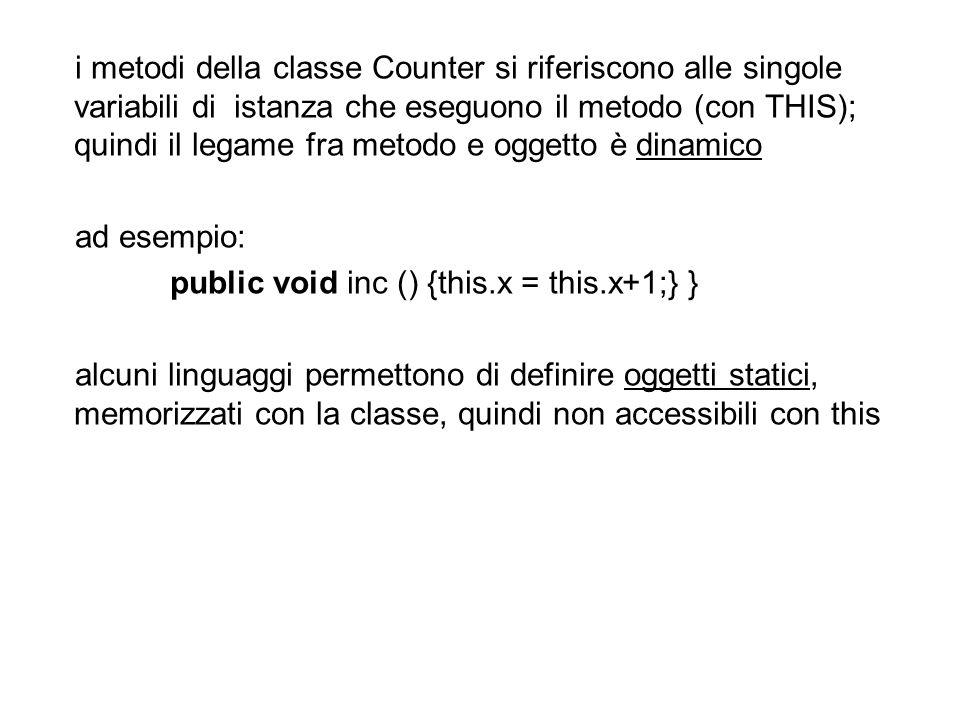 i metodi della classe Counter si riferiscono alle singole variabili di istanza che eseguono il metodo (con THIS); quindi il legame fra metodo e oggetto è dinamico ad esempio: public void inc () {this.x = this.x+1;} } alcuni linguaggi permettono di definire oggetti statici, memorizzati con la classe, quindi non accessibili con this