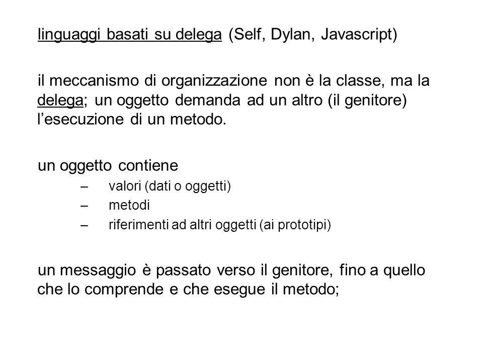 linguaggi basati su delega (Self, Dylan, Javascript) il meccanismo di organizzazione non è la classe, ma la delega; un oggetto demanda ad un altro (il genitore) lesecuzione di un metodo.