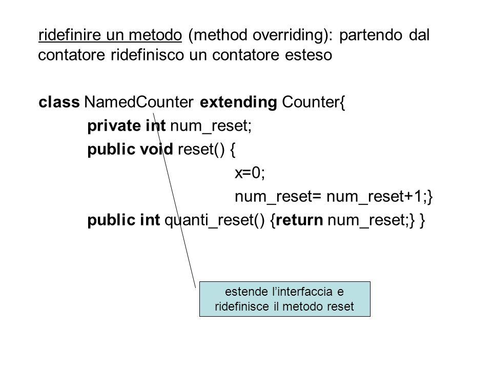 ridefinire un metodo (method overriding): partendo dal contatore ridefinisco un contatore esteso class NamedCounter extending Counter{ private int num_reset; public void reset() { x=0; num_reset= num_reset+1;} public int quanti_reset() {return num_reset;} } estende linterfaccia e ridefinisce il metodo reset