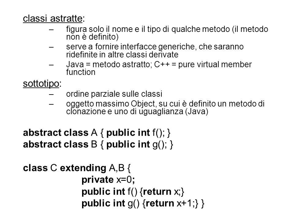 classi astratte: –figura solo il nome e il tipo di qualche metodo (il metodo non è definito) –serve a fornire interfacce generiche, che saranno ridefinite in altre classi derivate –Java = metodo astratto; C++ = pure virtual member function sottotipo: –ordine parziale sulle classi –oggetto massimo Object, su cui è definito un metodo di clonazione e uno di uguaglianza (Java) abstract class A { public int f(); } abstract class B { public int g(); } class C extending A,B { private x=0; public int f() {return x;} public int g() {return x+1;} }