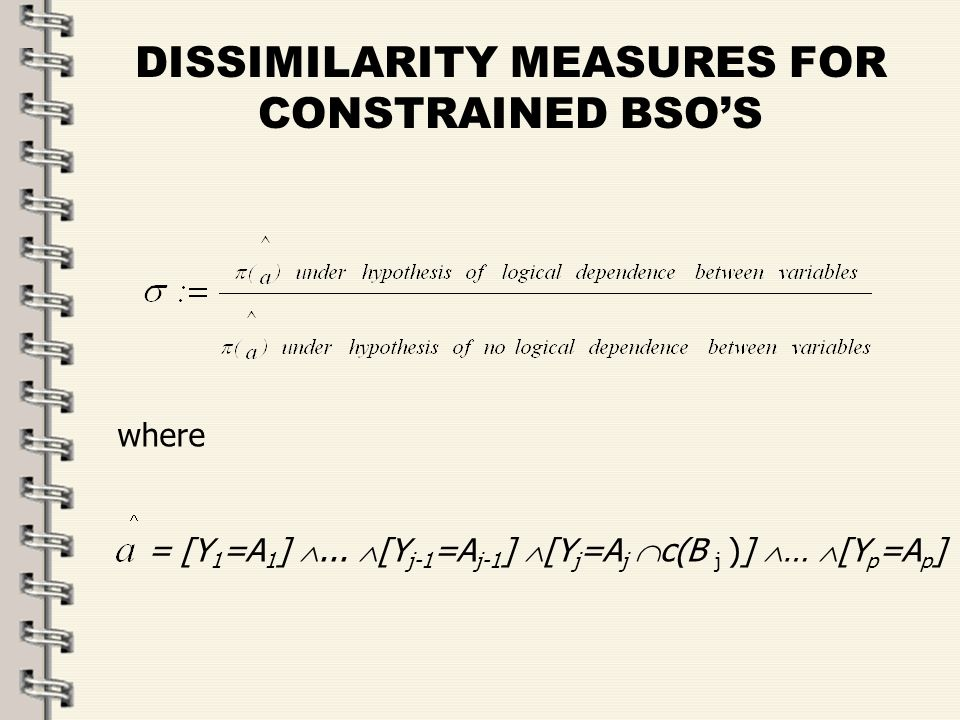 Fare clic per modificare lo stile del titolo dello schema zFare clic per modificare gli stili del testo dello schema ySecondo livello xTerzo livello Quarto livello –Quinto livello 27 DISSIMILARITY MEASURES FOR CONSTRAINED BSOS where = [Y 1 =A 1 ]...