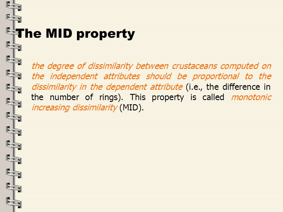 Fare clic per modificare lo stile del titolo dello schema zFare clic per modificare gli stili del testo dello schema ySecondo livello xTerzo livello Quarto livello –Quinto livello 8 The MID property The degree of dissimilarity between crustaceans computed on the independent attributes should be proportional to the dissimilarity in the dependent attribute (i.e., the difference in the number of rings).