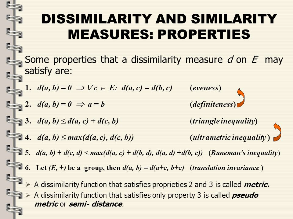 Fare clic per modificare lo stile del titolo dello schema zFare clic per modificare gli stili del testo dello schema ySecondo livello xTerzo livello Quarto livello –Quinto livello 10 DISSIMILARITY AND SIMILARITY MEASURES: PROPERTIES Some properties that a dissimilarity measure d on E may satisfy are: 1.