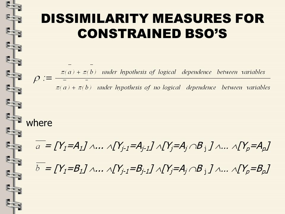 Fare clic per modificare lo stile del titolo dello schema zFare clic per modificare gli stili del testo dello schema ySecondo livello xTerzo livello Quarto livello –Quinto livello 24 DISSIMILARITY MEASURES FOR CONSTRAINED BSOS where = [Y 1 =A 1 ]...