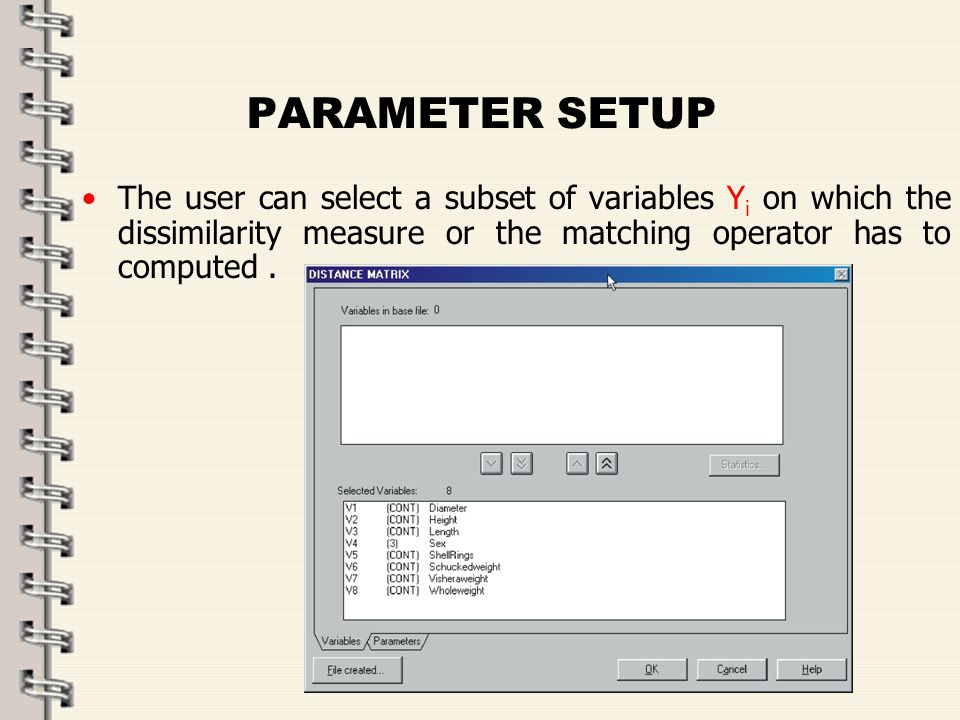 Fare clic per modificare lo stile del titolo dello schema zFare clic per modificare gli stili del testo dello schema ySecondo livello xTerzo livello Quarto livello –Quinto livello 41 PARAMETER SETUP The user can select a subset of variables Y i on which the dissimilarity measure or the matching operator has to computed.