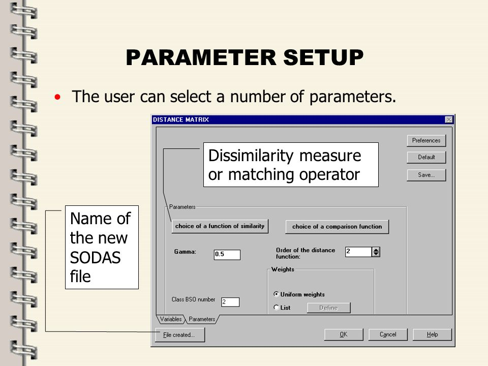 Fare clic per modificare lo stile del titolo dello schema zFare clic per modificare gli stili del testo dello schema ySecondo livello xTerzo livello Quarto livello –Quinto livello 42 PARAMETER SETUP The user can select a number of parameters.