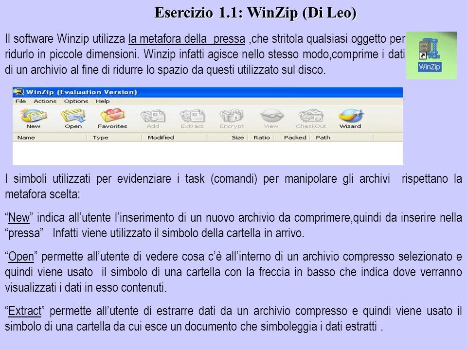 Il software Winzip utilizza la metafora della pressa,che stritola qualsiasi oggetto per ridurlo in piccole dimensioni. Winzip infatti agisce nello ste
