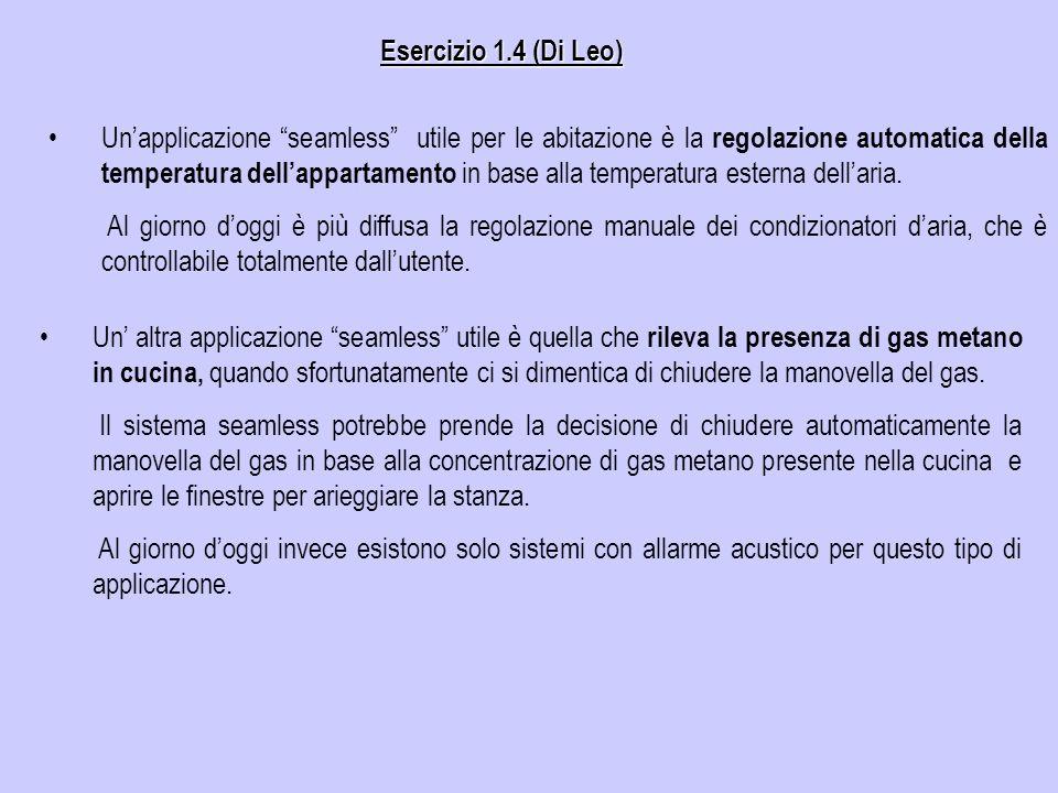 Esercizio 1.4 (Di Leo) Unapplicazione seamless utile per le abitazione è la regolazione automatica della temperatura dellappartamento in base alla tem