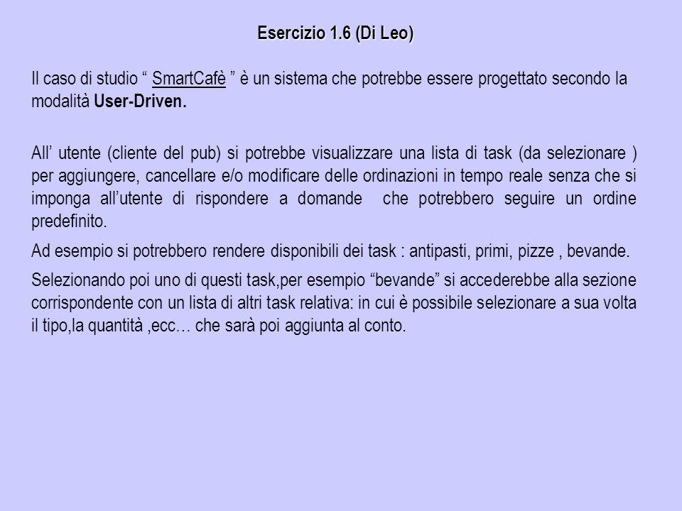 Esercizio 1.6 (Di Leo) All utente (cliente del pub) si potrebbe visualizzare una lista di task (da selezionare ) per aggiungere, cancellare e/o modifi