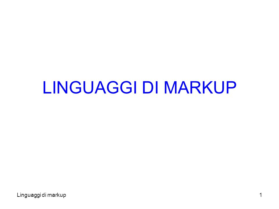 Linguaggi di markup12 Markup (2) Si distingue Markup interno da quello esterno Markup interno –Inserisce istruzioni di presentazione all interno del testo, tra le parole –Richiede sintassi particolari per distinguere il markup dal contenuto.
