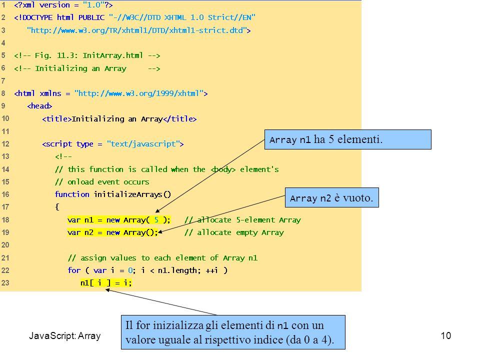 InitArray.html (1 of 3) 10 Array n1 ha 5 elementi. Il for inizializza gli elementi di n1 con un valore uguale al rispettivo indice (da 0 a 4). Array n