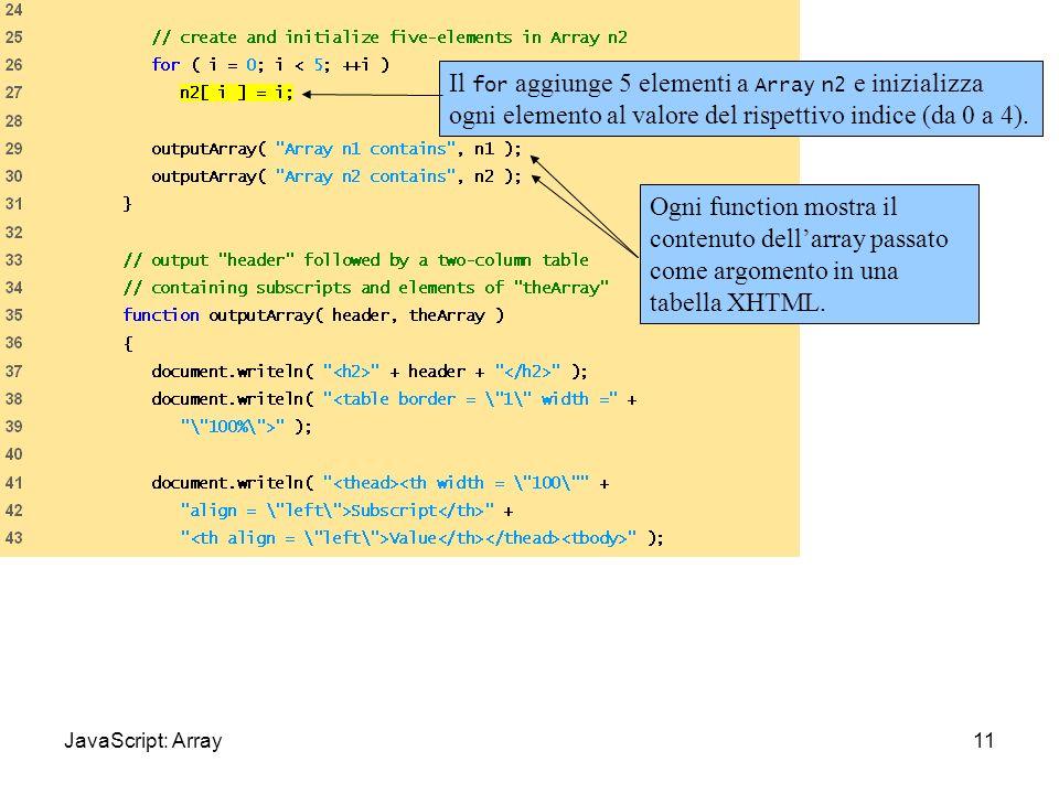 InitArray.html (1 of 3) 11 Il for aggiunge 5 elementi a Array n2 e inizializza ogni elemento al valore del rispettivo indice (da 0 a 4). Ogni function
