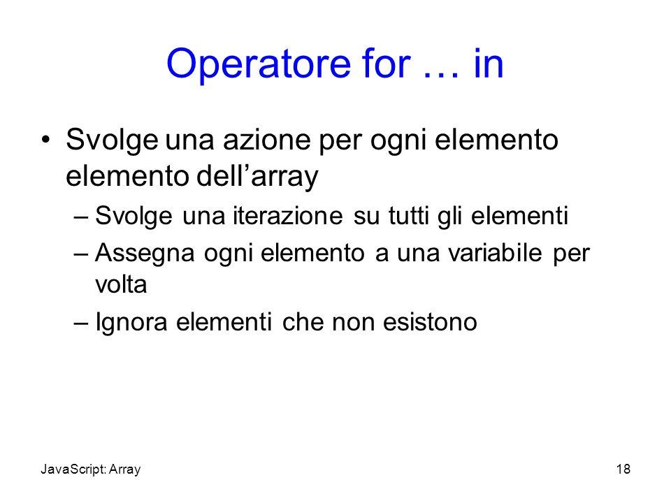 Operatore for … in Svolge una azione per ogni elemento elemento dellarray –Svolge una iterazione su tutti gli eIementi –Assegna ogni elemento a una va