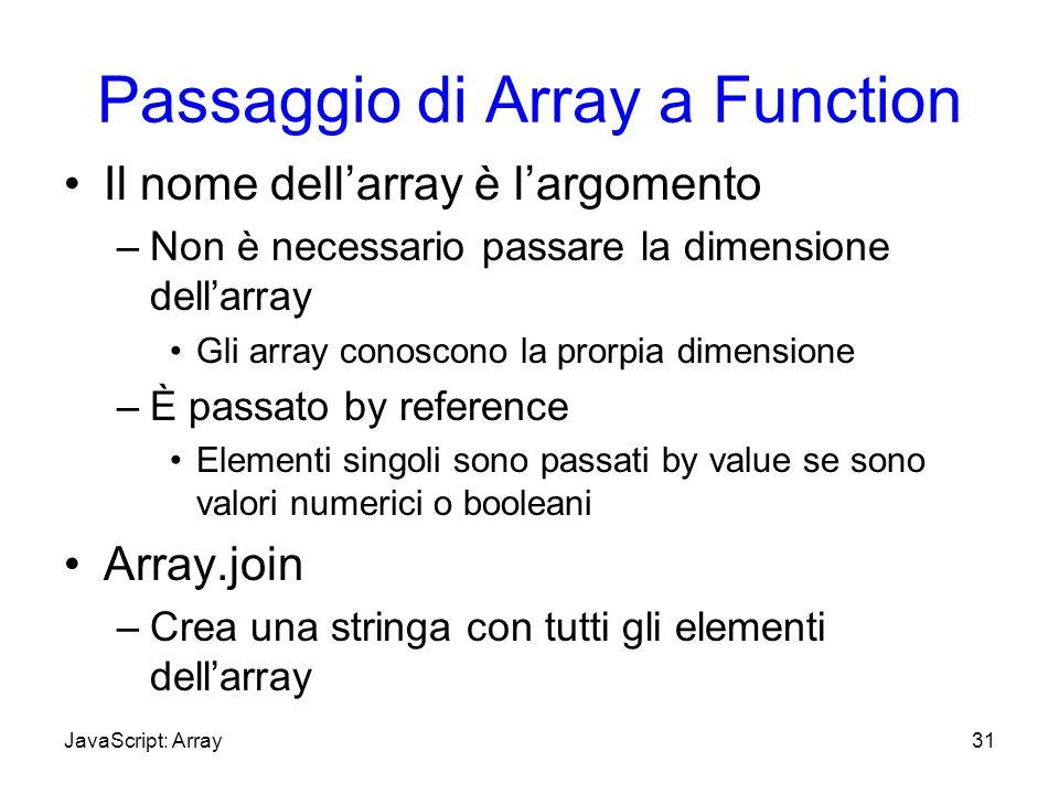 Passaggio di Array a Function Il nome dellarray è largomento –Non è necessario passare la dimensione dellarray Gli array conoscono la prorpia dimensio