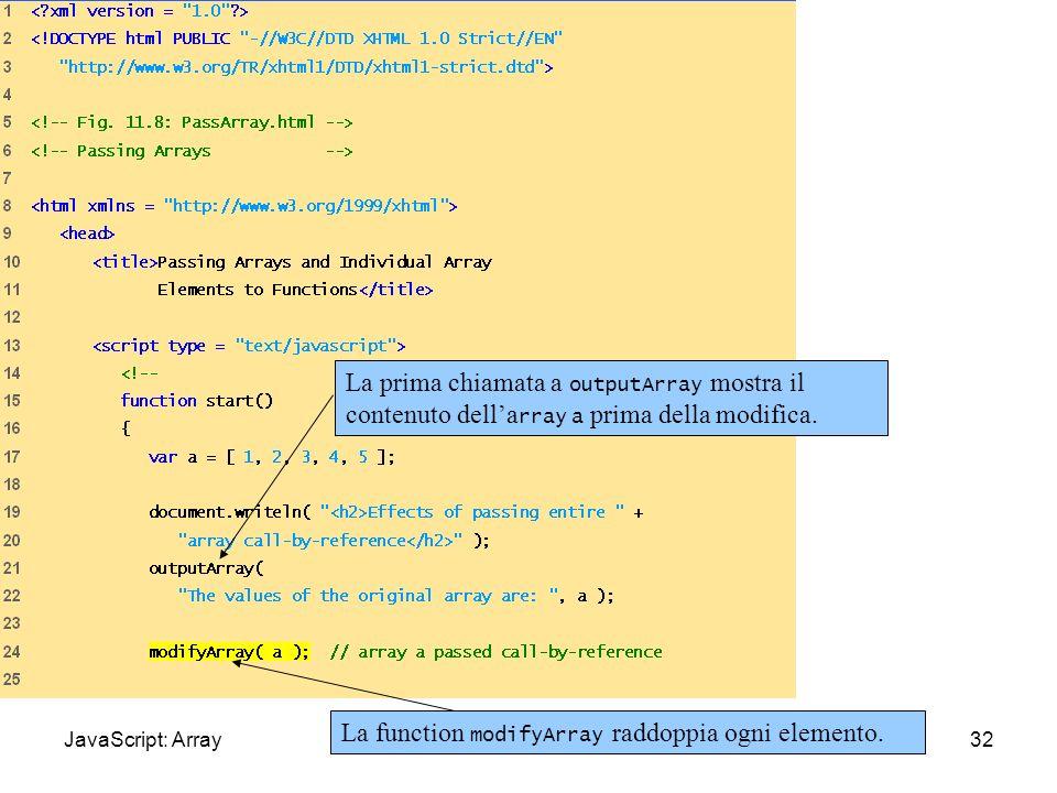 PassArray.html (1 of 3) 32 La prima chiamata a outputArray mostra il contenuto della rray a prima della modifica. La function modifyArray raddoppia og
