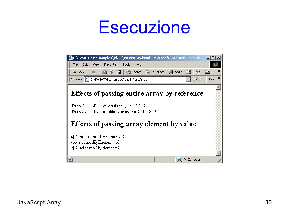 Esecuzione 35JavaScript: Array