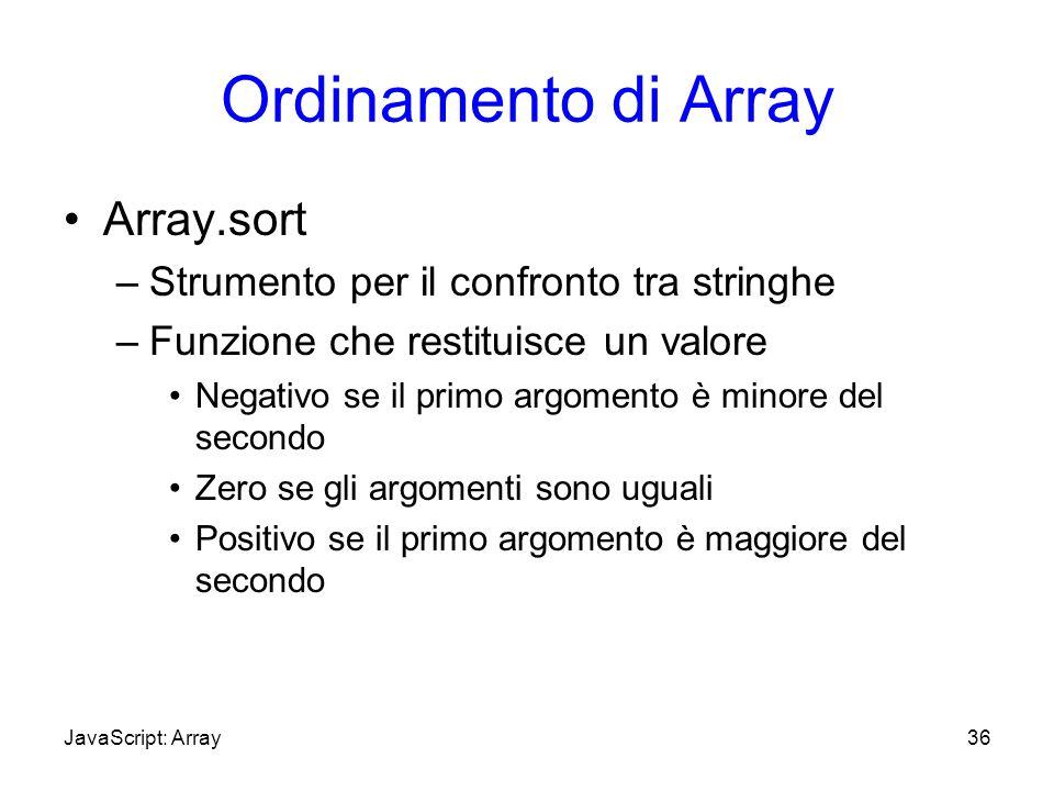 Ordinamento di Array Array.sort –Strumento per il confronto tra stringhe –Funzione che restituisce un valore Negativo se il primo argomento è minore d