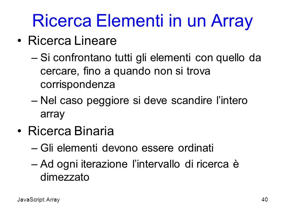 Ricerca Elementi in un Array Ricerca Lineare –Si confrontano tutti gli elementi con quello da cercare, fino a quando non si trova corrispondenza –Nel