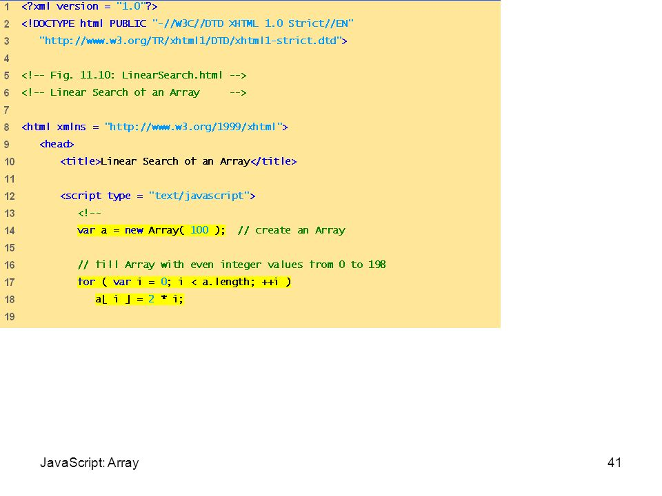 LinearSearch.html (1 of 3) 41JavaScript: Array