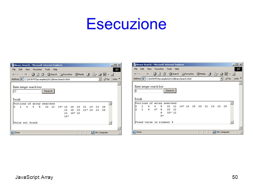 Esecuzione 50JavaScript: Array