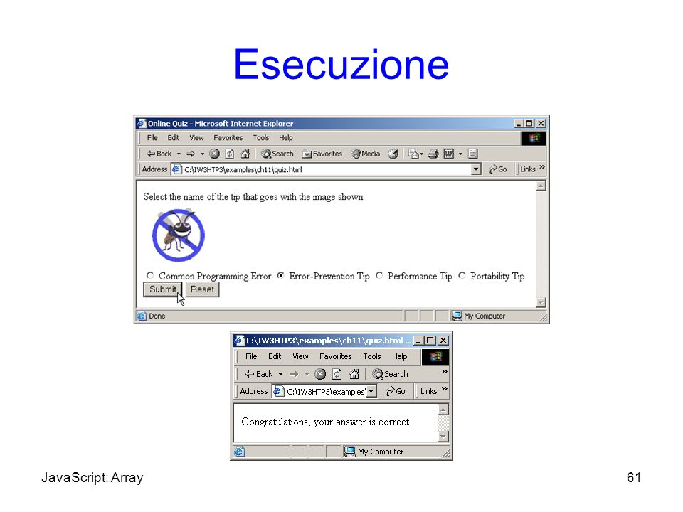 Esecuzione 61JavaScript: Array