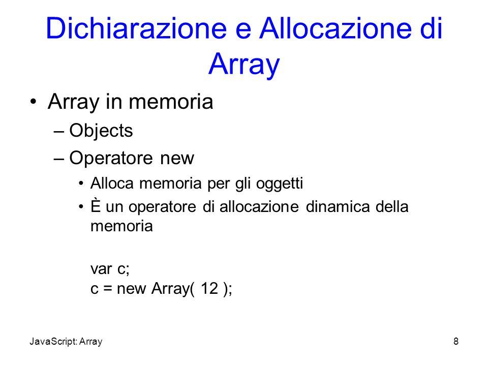 Dichiarazione e Allocazione di Array Array in memoria –Objects –Operatore new Alloca memoria per gli oggetti È un operatore di allocazione dinamica de