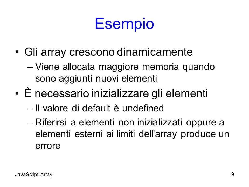 Esempio Gli array crescono dinamicamente –Viene allocata maggiore memoria quando sono aggiunti nuovi elementi È necessario inizializzare gli elementi