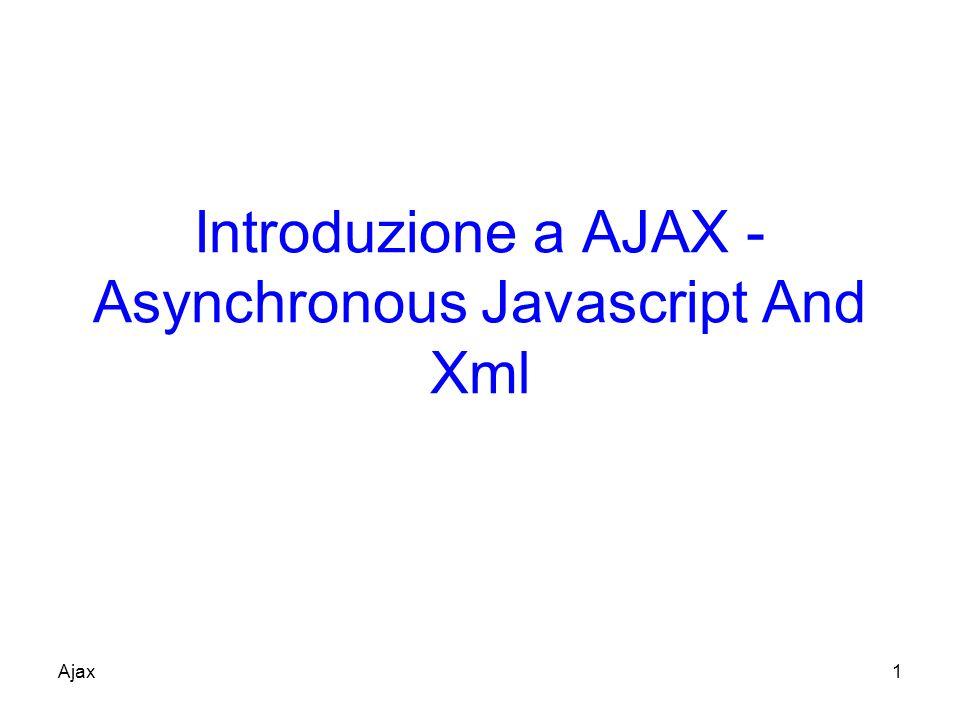 Funzionamento (1) AJAX è eseguito allinterno del browser È basato sul protocollo HTTP –Trasferisce dati asincronamente tra il browser e il web server (HTTP requests) Le Http requests sono inviate da chiamate a script di JavaScript senza dover effettuare submit di form XML è comunemente usato come formato per ricevere dati dal server –Si può usare anche plain text Ajax12