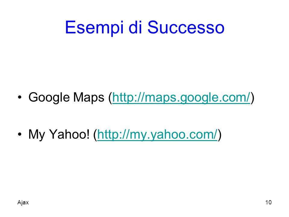 Esempi di Successo Google Maps (http://maps.google.com/)http://maps.google.com/ My Yahoo.