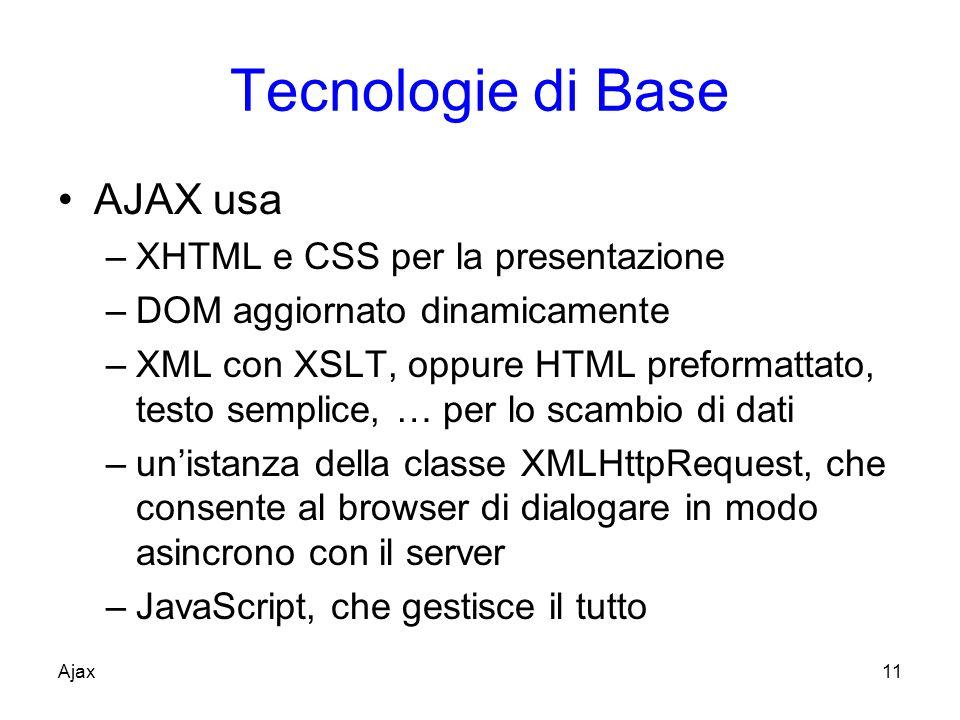 Tecnologie di Base AJAX usa –XHTML e CSS per la presentazione –DOM aggiornato dinamicamente –XML con XSLT, oppure HTML preformattato, testo semplice, … per lo scambio di dati –unistanza della classe XMLHttpRequest, che consente al browser di dialogare in modo asincrono con il server –JavaScript, che gestisce il tutto Ajax11