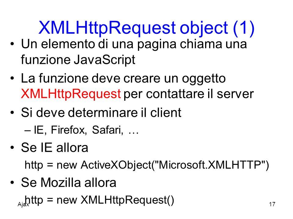 XMLHttpRequest object (1) Un elemento di una pagina chiama una funzione JavaScript La funzione deve creare un oggetto XMLHttpRequest per contattare il server Si deve determinare il client –IE, Firefox, Safari, … Se IE allora http = new ActiveXObject( Microsoft.XMLHTTP ) Se Mozilla allora http = new XMLHttpRequest() Ajax17