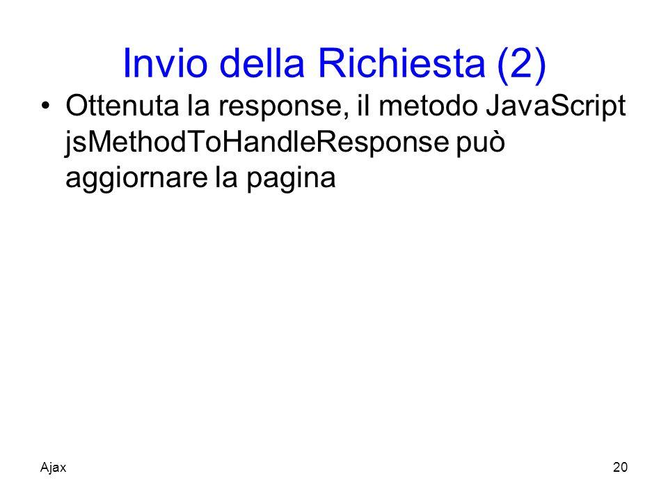 Invio della Richiesta (2) Ottenuta la response, il metodo JavaScript jsMethodToHandleResponse può aggiornare la pagina Ajax20
