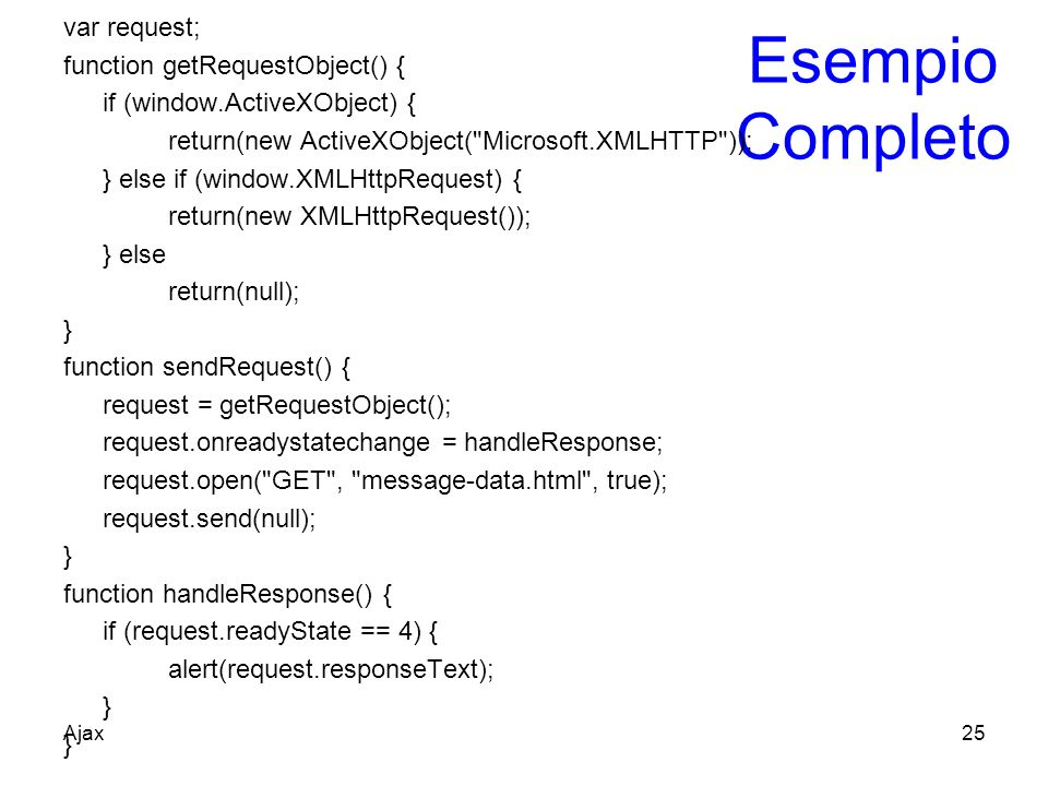 Esempio Completo var request; function getRequestObject() { if (window.ActiveXObject) { return(new ActiveXObject(