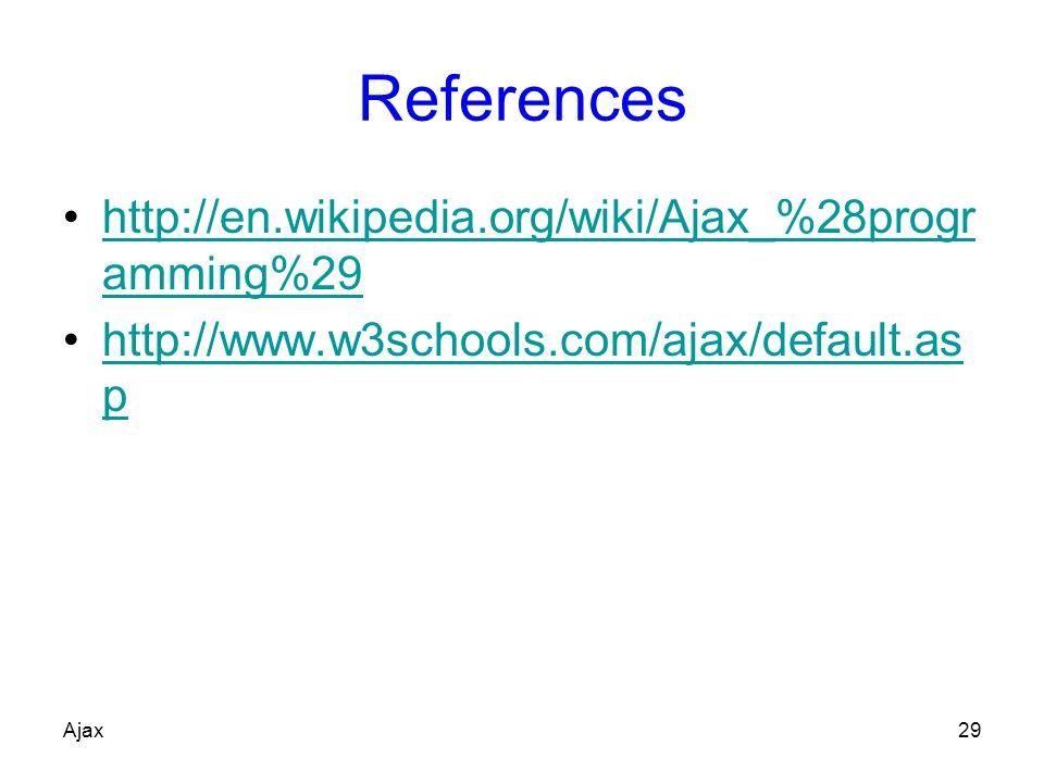 References http://en.wikipedia.org/wiki/Ajax_%28progr amming%29http://en.wikipedia.org/wiki/Ajax_%28progr amming%29 http://www.w3schools.com/ajax/default.as phttp://www.w3schools.com/ajax/default.as p Ajax29