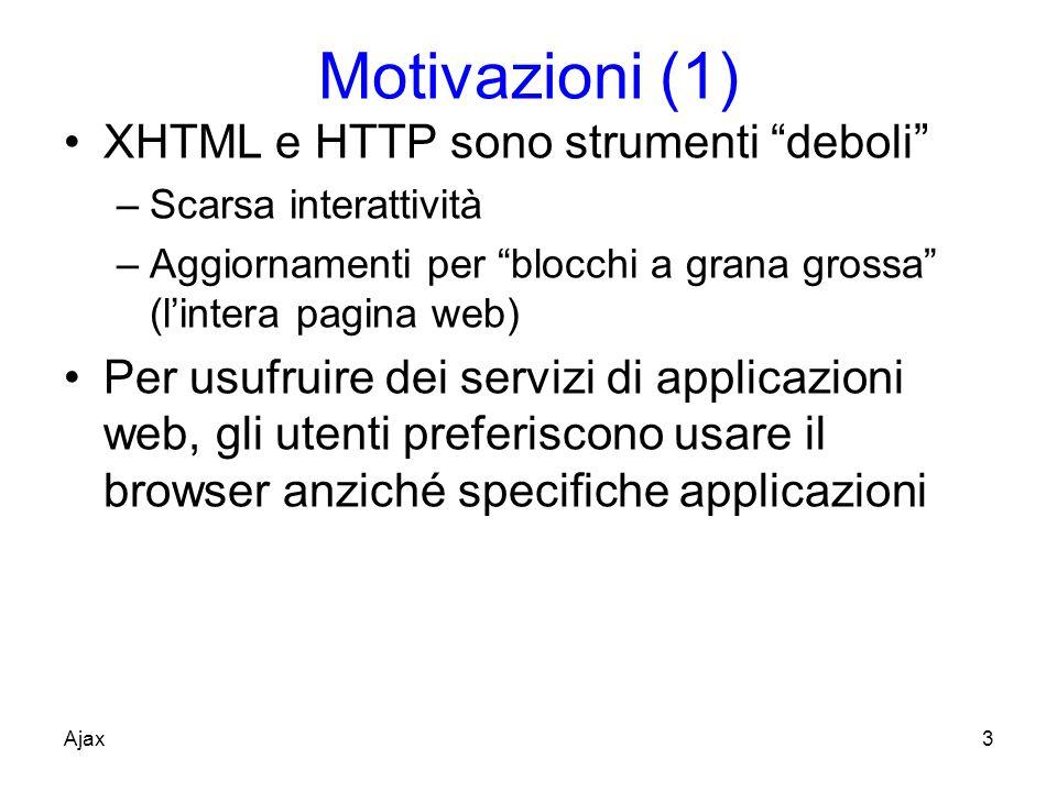 Motivazioni (1) XHTML e HTTP sono strumenti deboli –Scarsa interattività –Aggiornamenti per blocchi a grana grossa (lintera pagina web) Per usufruire dei servizi di applicazioni web, gli utenti preferiscono usare il browser anziché specifiche applicazioni Ajax3