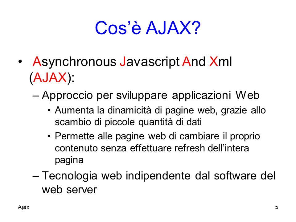 Approccio Le richieste del client sono elaborate in modo asincrono Viene aggiornata solo una piccola parte del documento correntemente presentato Ajax6