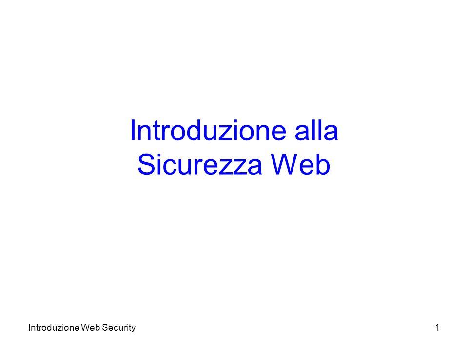 Architettura SSL (2) Il protocollo SSL Record fornisce servizi di sicurezza di base a protocolli di livello più alto –HTTP opera su SSL I protocolli di SSL a livello più alto sono –Handshake –Change cipher spec –Alert Usati negli scambi SSL Introduzione Web Security12