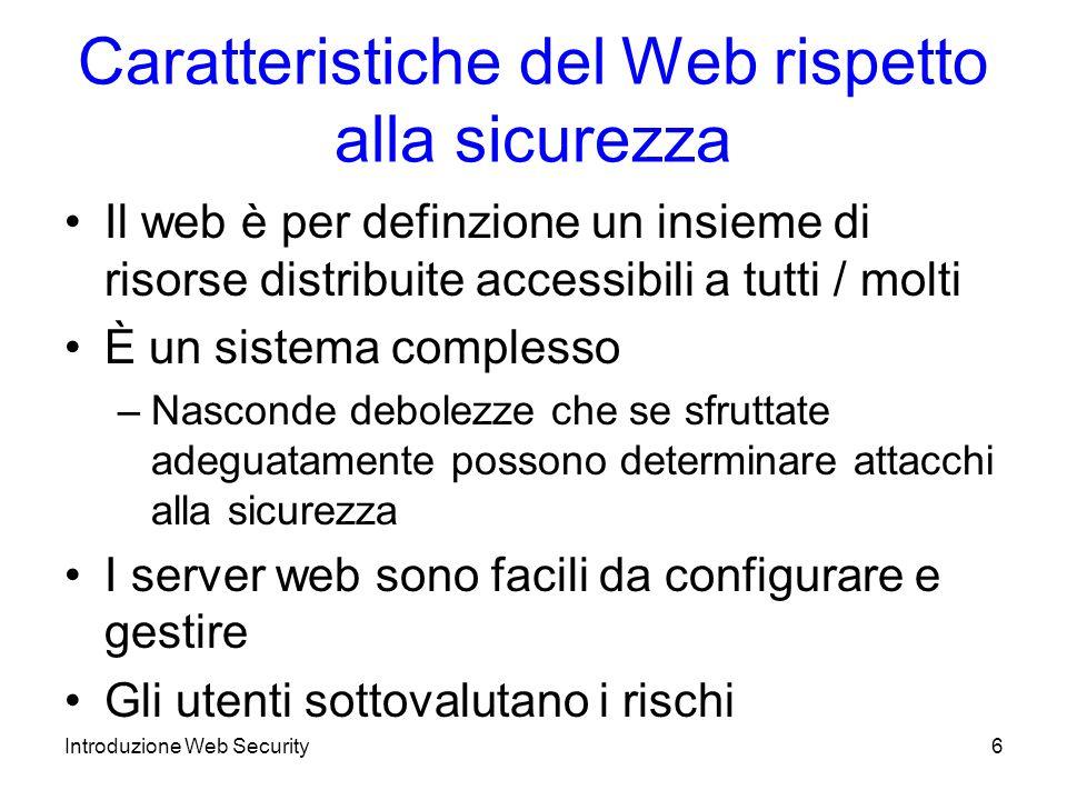 Una visione rispetto alla Pila OSI Introduzione Web Security7