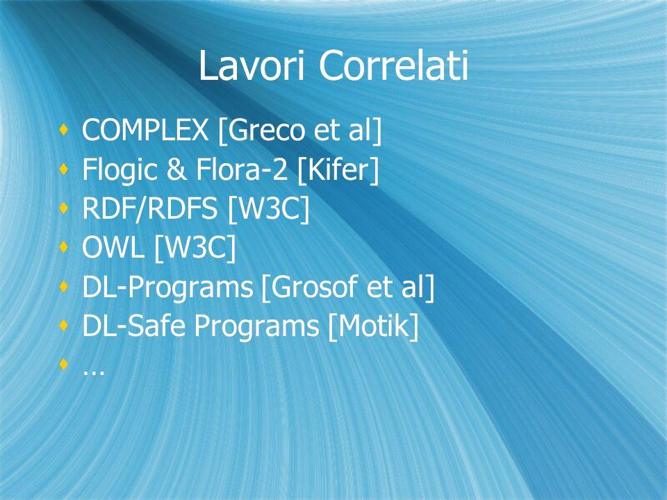 Lavori Correlati COMPLEX [Greco et al] Flogic & Flora-2 [Kifer] RDF/RDFS [W3C] OWL [W3C] DL-Programs [Grosof et al] DL-Safe Programs [Motik] … COMPLEX [Greco et al] Flogic & Flora-2 [Kifer] RDF/RDFS [W3C] OWL [W3C] DL-Programs [Grosof et al] DL-Safe Programs [Motik] …