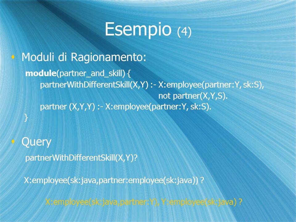 Esempio (4) Moduli di Ragionamento: module(partner_and_skill) { partnerWithDifferentSkill(X,Y) :- X:employee(partner:Y, sk:S), not partner(X,Y,S).