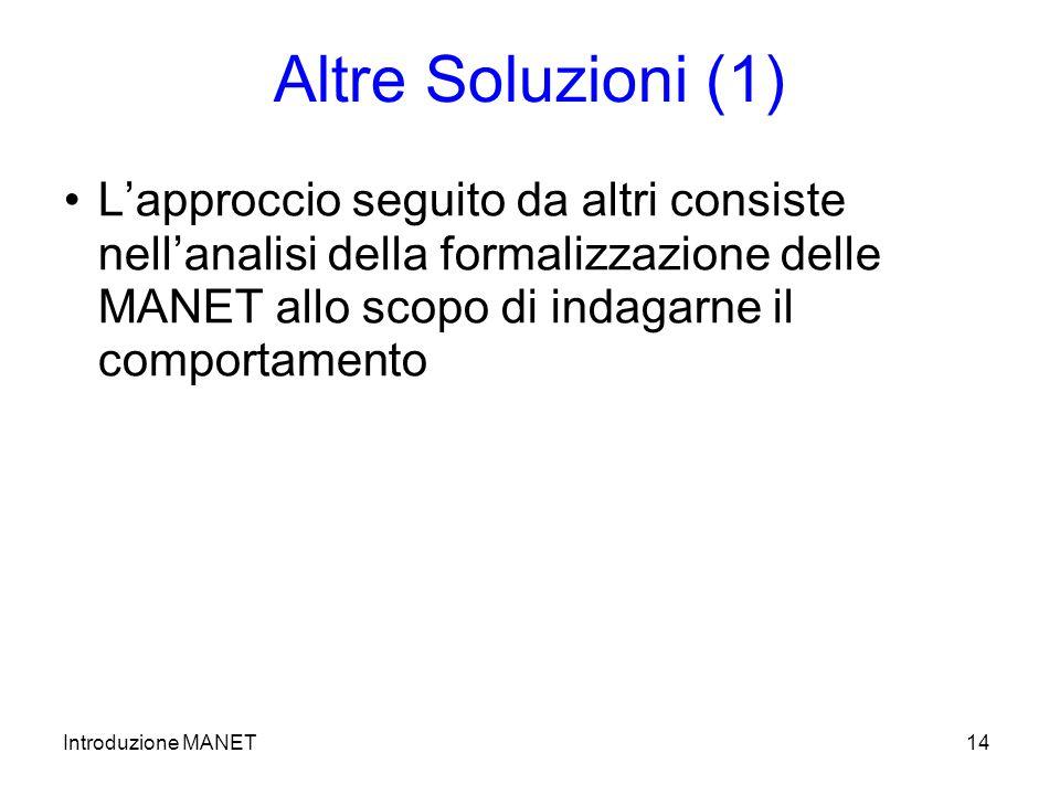 Introduzione MANET14 Altre Soluzioni (1) Lapproccio seguito da altri consiste nellanalisi della formalizzazione delle MANET allo scopo di indagarne il comportamento