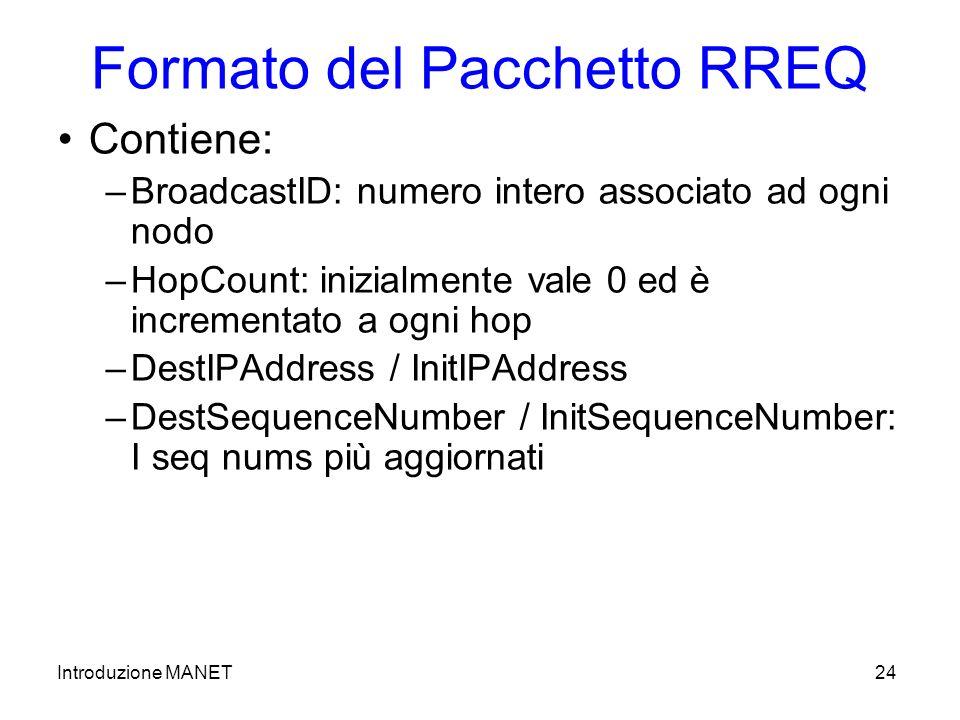 Introduzione MANET24 Formato del Pacchetto RREQ Contiene: –BroadcastID: numero intero associato ad ogni nodo –HopCount: inizialmente vale 0 ed è incrementato a ogni hop –DestIPAddress / InitIPAddress –DestSequenceNumber / InitSequenceNumber: I seq nums più aggiornati